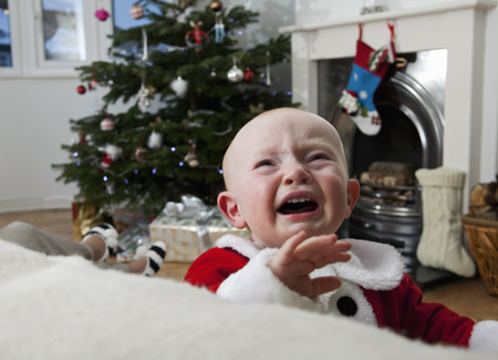 cried: A baby crying at Christmas