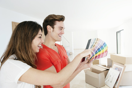 resolved: Couple picking out paint in new home