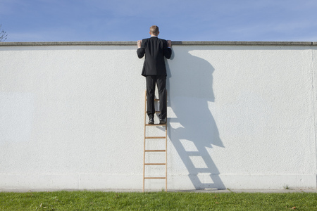 advances: Businessman on ladder looking over wall LANG_EVOIMAGES