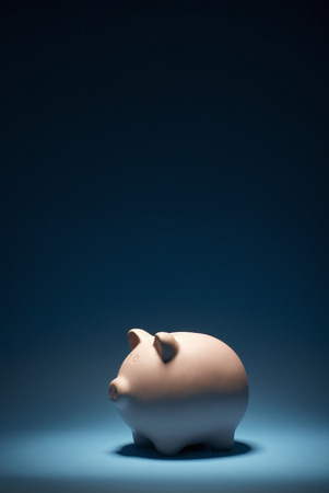 liable: Piggy bank on blue background