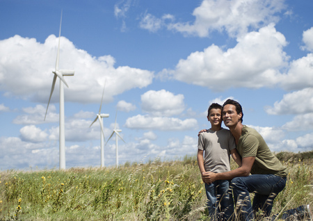 2 way: Father and son on a windfarm
