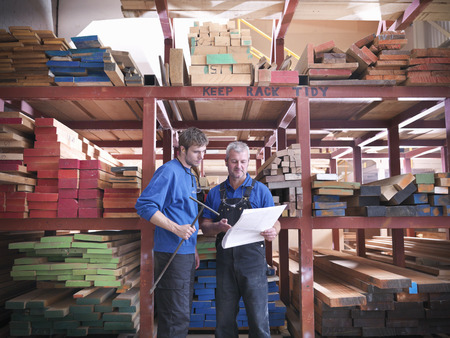 stockmarket: Workers reading together in joinery