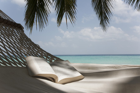 Open book in hammock on beach