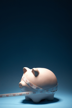 indebted: Piggy bank and measuring tape LANG_EVOIMAGES
