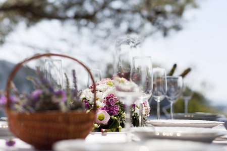 Table set with flowers and flatware