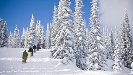 pursued: Snowboarders walking up hillside
