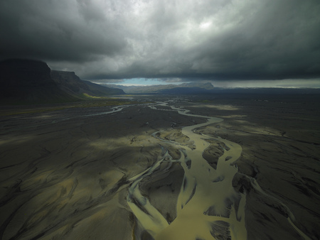 stormy waters: Aerial view of glacial river