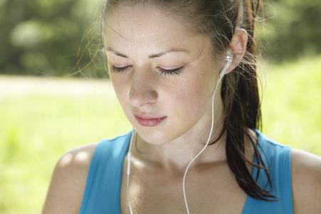 Runner wearing headphones
