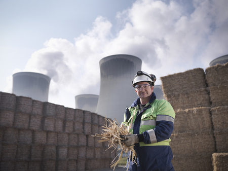 coveralls: Worker with elephant grass biomass fuel LANG_EVOIMAGES