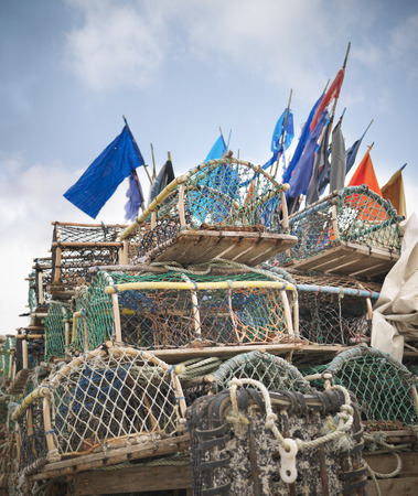 Lobster pots with flags on deck LANG_EVOIMAGES