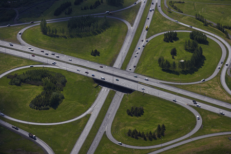 journeying: Aerial view of ramps onto freeway