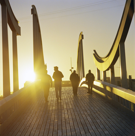 intersects: People on wooden walkway