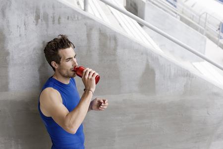 athleticism: Runner drinking water