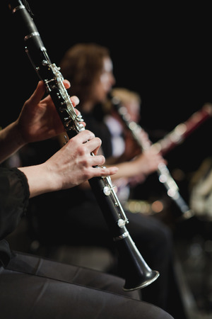 Clarinet player in orchestra
