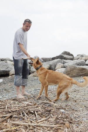 Man playing with dog on rocky beach