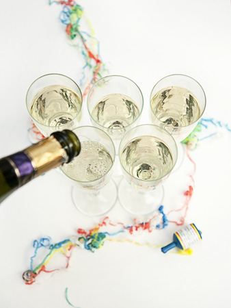 Glasses of champagne at party