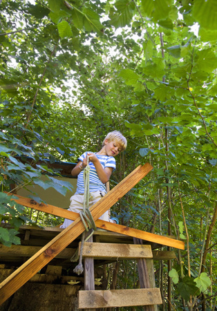 assembled: Boy tying rope to treehouse
