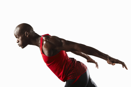 intersecting: Profile of athlete lunging
