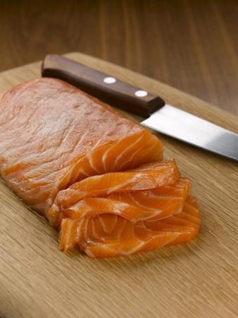 omnivore: Close up of sliced salmon