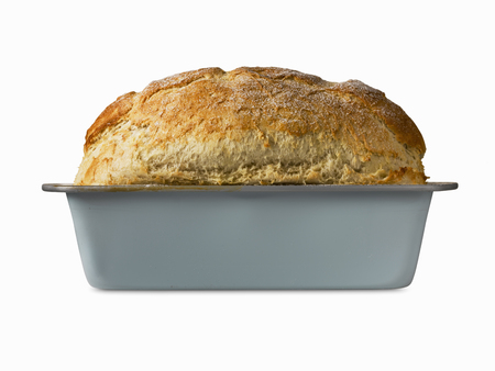 uncomplicated: Close up of freshly baked bread in pan