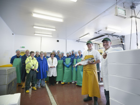 scottish female: Workers in fish processing plant LANG_EVOIMAGES