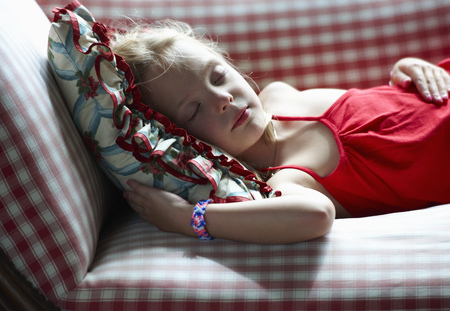 doze: Girl napping on couch