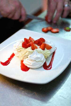 freshly prepared: Chef with dish in restaurant kitchen