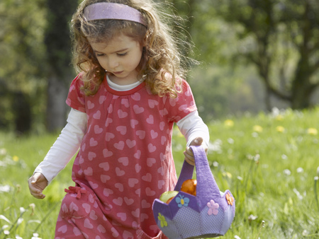 hearted: Girl hunting for Easter eggs