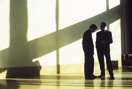 shadowed: Businessmen talking in shadowed lobby