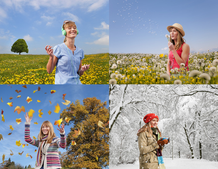 flowered: Four seasons of woman playing outdoors
