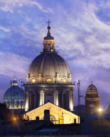 histories: Ornate dome lit up at night