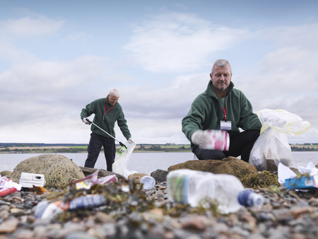 safe water: Environmentalist cleaning up beach