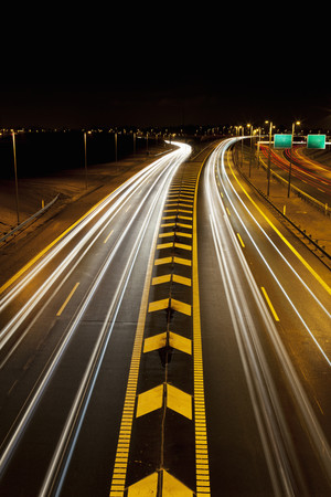 turnpike: Time-lapse view of traffic on highway