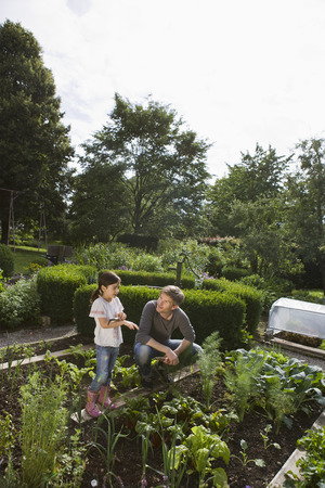 planted: Father and daughter gardening together LANG_EVOIMAGES