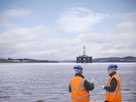 talker: Environmentalists with offshore oil rig