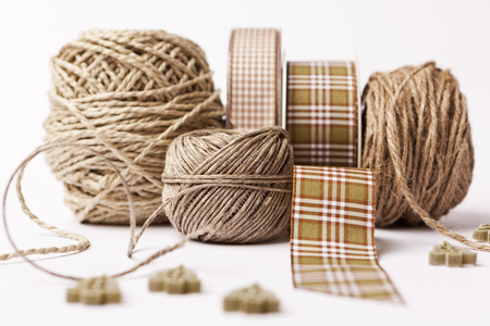 xmass: Close up of ribbon,string and buttons