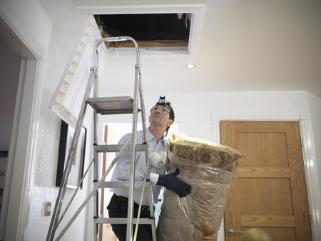 attic: Worker carrying insulation to attic