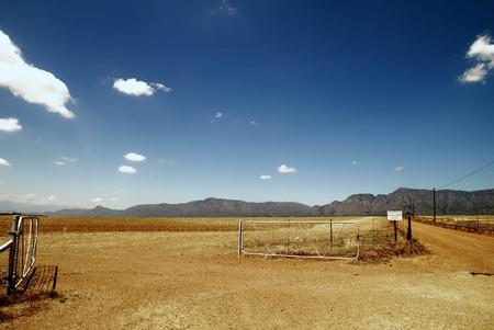 no entrance: Fence in dry rural landscape