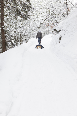 to go sledding: Man pulling sled in snowy field LANG_EVOIMAGES