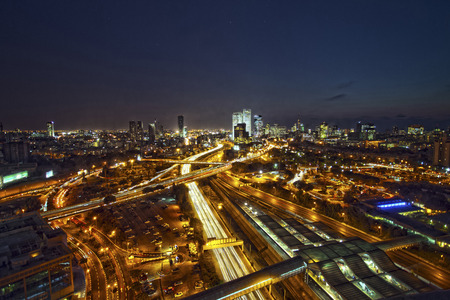 turnpike: Aerial view of Tel Aviv lit up at night