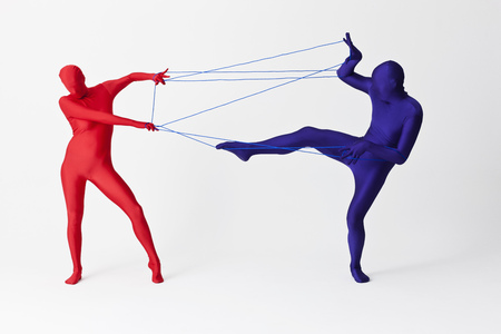 struggled: Couple in bodysuits playing with string LANG_EVOIMAGES
