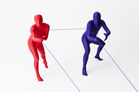 tugging: Couple in bodysuits playing with string LANG_EVOIMAGES