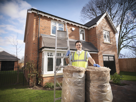 Contractor with rolls of insulation LANG_EVOIMAGES