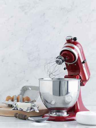 Kitchen mixer with eggs and butter
