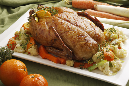 Close up of roast chicken and vegetables LANG_EVOIMAGES