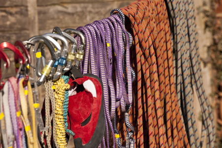 Close up of climbing ropes on line