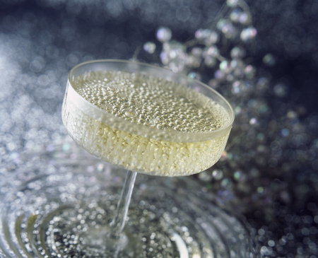 Close up of glass of champagne