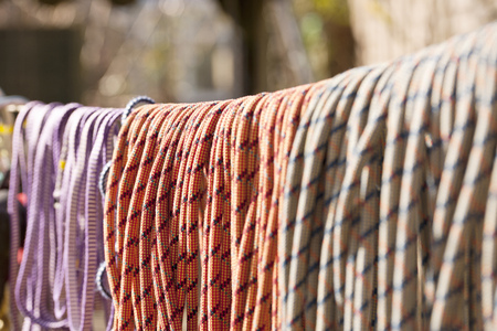 climbed: Close up of climbing ropes on line