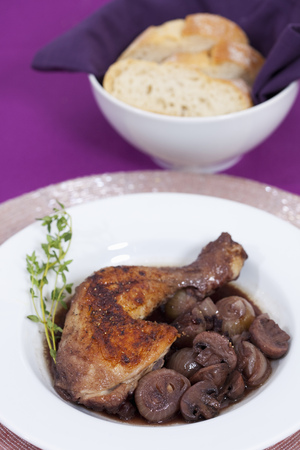 vin: Plate of coq au vin