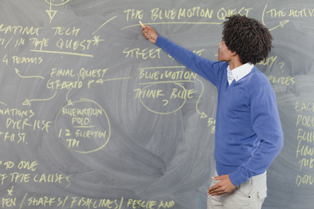 taught man: Teacher pointing to chalkboard LANG_EVOIMAGES
